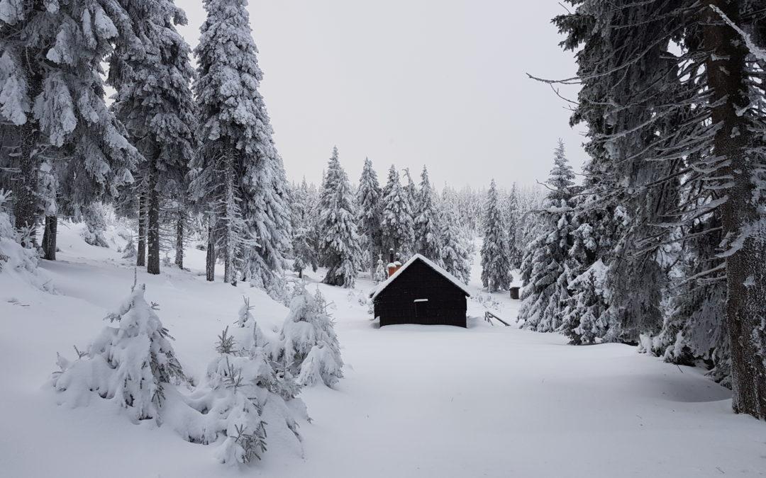 Na hřebenech Jeseníků je vysoká vrstva prachového sněhu